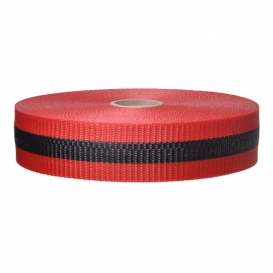 Red-Black Woven Barricade Ribbon