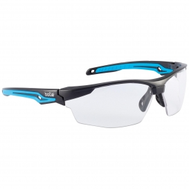 Bolle 40301 Tryon Safety Glasses - Black/Blue Frame - Clear Platinum Anti-Fog Lens