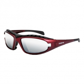 CrossFire 27103 Diamondback Safety Glasses - Red Foam Lined Frame - Silver Mirror Lens