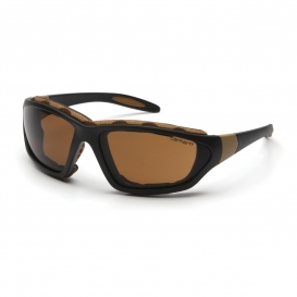 Carhartt Carthage Safety Eyewear - Black/Tan Frame - Brown Anti-Fog Lens