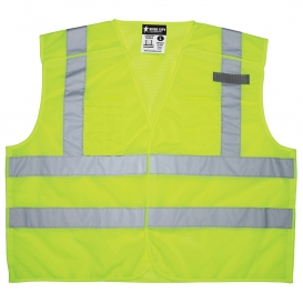 River City CL2ML2 Type R Class 2 Breakaway Dual Stripe Mesh Safety Vest - Yellow/Lime