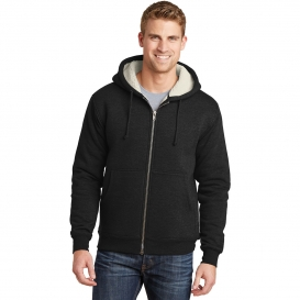 CornerStone CS625 Heavyweight Sherpa-Lined Hooded Fleece Jacket - Black