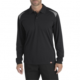 Dickies LL606 Long Sleeve Performance Polo Shirt - Black/Smoke