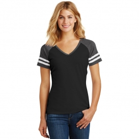 District DM476 Women\'s Game V-Neck Tee - Black/Heathered Charcoal