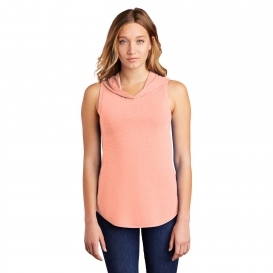 District DT1375 Women\'s Perfect Tri Sleeveless Hoodie - Heathered Dusty Peach