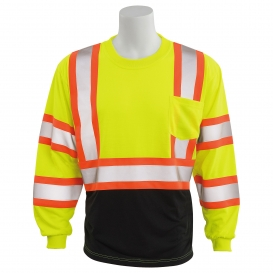 ERB 9802SBC Type R Class 3 Black Bottom Two-Tone Long Sleeve Safety Shirt - Yellow/Lime