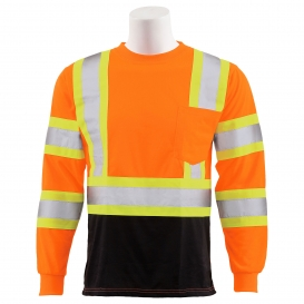 ERB 9802SBC Type R Class 3 Black Bottom Two-Tone Long Sleeve Safety Shirt - Orange