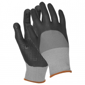 ERB Dotted Finish Nitrile Coated Palm and Finger Gloves - Gray