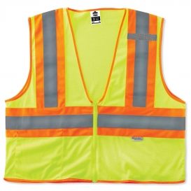 Ergodyne GloWear 8230Z Two-Tone Vest - Zipper Closure - Yellow/Lime