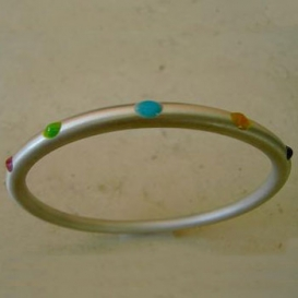 Matte Round Bangle with Colorful Dots