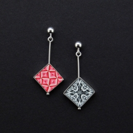 Twirl Small Square Drop Earrings - Pink and Red