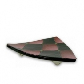 Red Harlequin Footed Triangle Plate