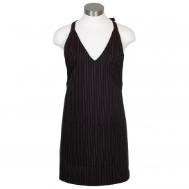 Fame F23 Tailored V-Neck Apron with Snap-Closure - Black Pinstripe