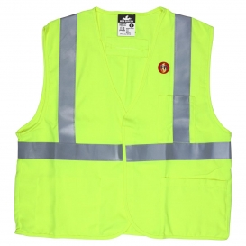 MCR Safety FRMCL2L Type R Class 2 Modacrylic FR Safety Vest - Yellow/Lime