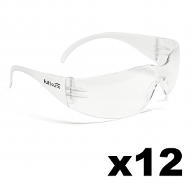 Full Source FS110UC-DZ Spinyback Safety Glasses - Clear Uncoated Lens (12 Pairs)