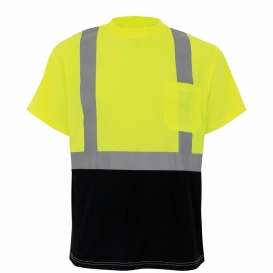 Global Glove GLO-007B FrogWear Type R Class 2 Black Bottom Safety Shirt - Yellow/Lime