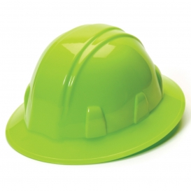Pyramex HP24131 Full Brim Hard Hat - 4-Point Ratchet Suspension - Hi-Viz Green