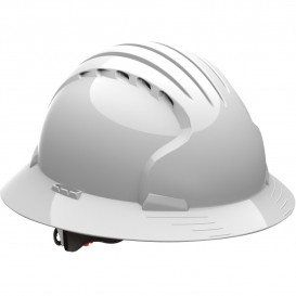 JSP Evolution 6161V Deluxe Full Brim Vented Hard Hat - Wheel Ratchet Suspension - White