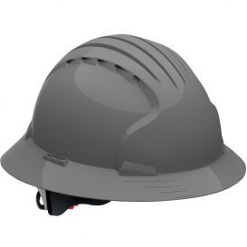 JSP Evolution 6161V Deluxe Full Brim Vented Hard Hat - Wheel Ratchet Suspension - Gray