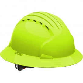 JSP Evolution 6161V Deluxe Full Brim Vented Hard Hat - Wheel Ratchet Suspension - Hi-Viz Lime