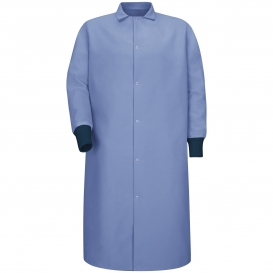 Red Kap KS60 Gripper-Front Spun Polyester Pocketless Butcher Coat with Knit Cuffs - Light Blue