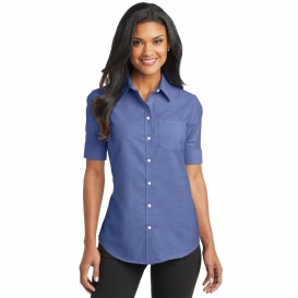 Port Authority L659 Ladies Short Sleeve SuperPro Oxford Shirt - Navy