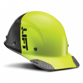 LIFT Safety HDC50C-19 DAX Fifty 50 Carbon Fiber Cap Style Hard Hat - Ratchet Suspension - Hi-Viz Yellow/Lime