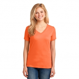 Port & Company LPC54V Ladies Core Cotton V-Neck Tee - Neon Orange