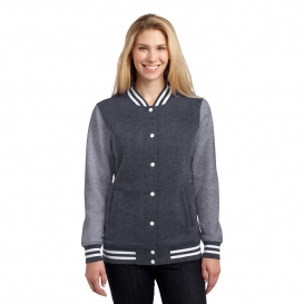 Sport-Tek LST270 Ladies Fleece Letterman Jacket - Graphite Heather/Vintage Heather