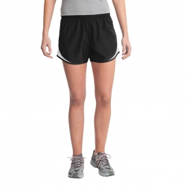 Sport-Tek LST304 Ladies Cadence Shorts - Black/White/Black
