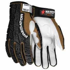 MCR Safety PD2903 Predator Cow Grain Leather Palm Multi-Task Gloves - Tire Tread TPR on Back