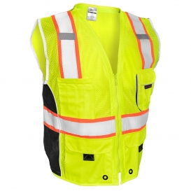 Kishigo 1513 Black Series Heavy Duty Safety Vest - Yellow/Lime