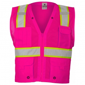 ML Kishigo B107 Enhanced Visibility Multi-Pocket Mesh Vest - Pink