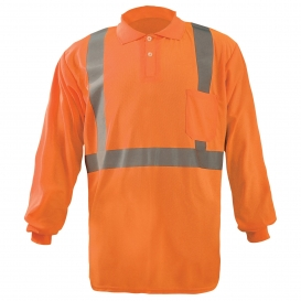 OccuNomix LUX-LSPP2B Type R Class 2 Long Sleeve Wicking Safety Polo - Orange