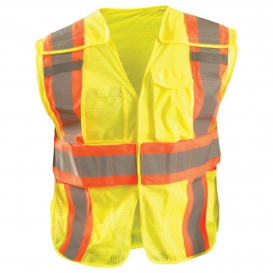 OccuNomix LUX-SC2TB Type R Class 2 Expandable Breakaway Mesh Safety Vest - Yellow/Lime