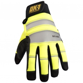 OK-1 CCG450 Anti-Vibration D3O Moisture Wicking Work Gloves - Yellow/Lime