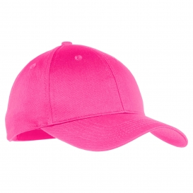 Port & Company YCP80 Youth Six-Panel Twill Cap - Neon Pink
