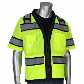 PIP 303-0800D Type R Class 3 Two-Tone D-Ring Access Mesh Surveyor Safety Vest - Yellow/Lime