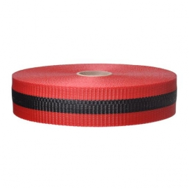Presco BW2RBK200 2x200 Woven Barricade Ribbon - Red with Black Stripe