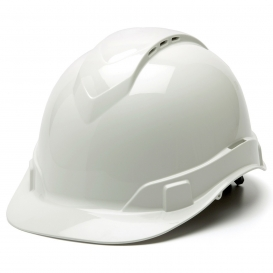 Pyramex HP44110V Ridgeline Vented Hard Hat - 4-Point Ratchet Suspension - White