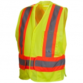 Pyramex RCA2710SE Type R Class 2 Breakaway Two-Tone X-Back Self Extinguishing Mesh Safety Vest - Yellow/Lime