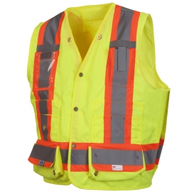 Pyramex RCMS2810SE Type R Class 2 Heavy Duty Self Extinguishing Surveyor Safety Vest - Yellow/Lime