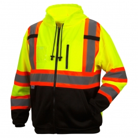 Pyramex RCSZH3310 Type R Class 3 Two-Tone Black Bottom Full-Zip Safety Sweatshirt - Yellow/Lime