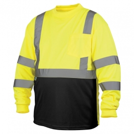 Pyramex RLTS3110B Type R Class 3 Black Bottom Moisture Wicking Safety Shirt - Yellow/Lime