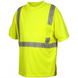 Pyramex RTS2310 Type R Class 2 Safety Shirt with Broken Heat Sealed Tape - Yellow/Lime