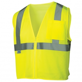 Pyramex RVZ2110 Type R Class 2 Mesh Safety Vest with Pocket - Yellow/Lime