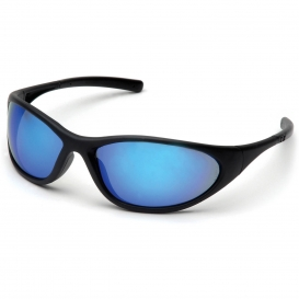Pyramex SB3365E Zone II Safety Glasses - Matte Black Frame - Ice Blue Mirror Lens