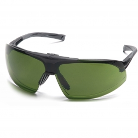 Pyramex SB4960STP Onix Plus Safety Glasses - Black Frame - Clear Anti-Fog Lens - Flip Up 3.0 IR Filter Lens