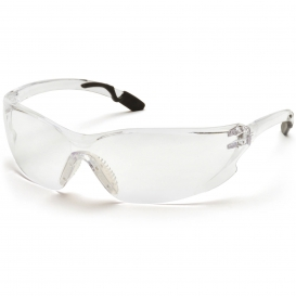 Pyramex SG6510ST Achieva Safety Glasses - Clear Frame with Black Tips - Clear Anti-Fog Lens
