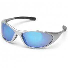 Pyramex SS3365E Zone II Safety Glasses - Silver Frame - Ice Blue Mirror Lens
